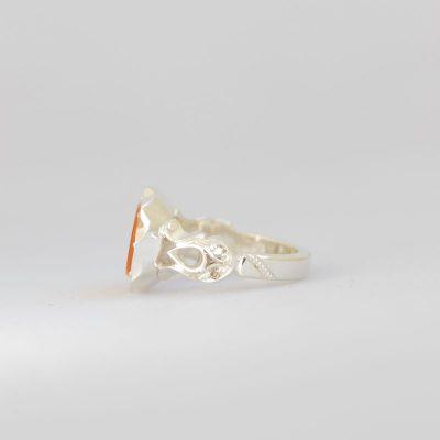 رکاب دستساز نقره، مدل صفوی با طرح اشکی (هنر استاد اسکندری) به همراه 4 عدد الماس اصل