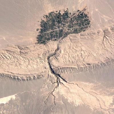 تصویر هوایی روستای کشیت در دل کویر لوت