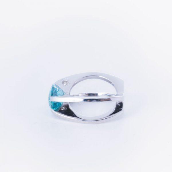رکاب دستساز نقره، مدل حلقه با طرح مورب (هنر استاد اسکندری) به همراه 2 عدد الماس اصل